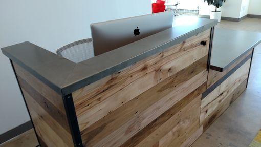 Handmade Reclaimed Wood Steel Reception Desk By Re Dwell