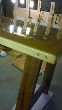 Custom Made Reclaimed Mill Table Desk With Printer Stand And Drawer