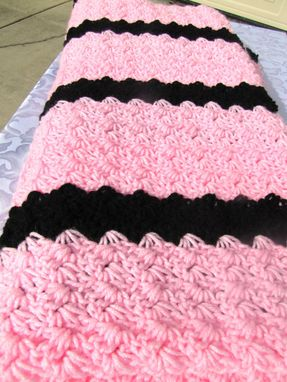 Custom Made Adult Size 70x54 Crochet Blanket In Pink And Black Stripes - Ships Fast