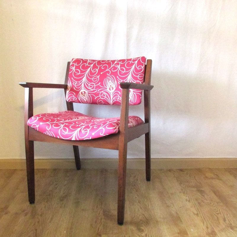 Hand Crafted Refinished Vintage Krug Chair In Walnut With Raspberry ...