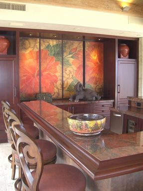 Custom Made Cracked Linen Hibiscus Custom Panel Installation