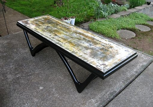 Custom Made Recycled Wood Table With Industrial Post-Apocalyptic Finish