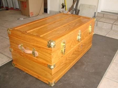 Handmade Hand Crafted Cedar Lined Red Oak Steamer Trunk By