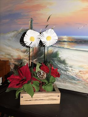 Custom Made Steel Daisies With Red Oak Box.