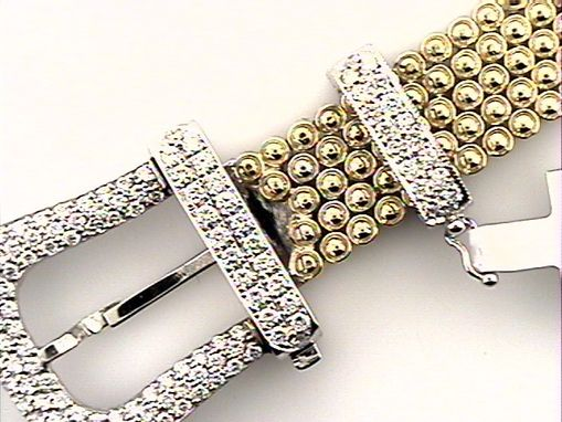 Custom Made Equestrian Horse Lovers 18k Women's White Gold  Buckle Diamond Bracelet 1.90ct