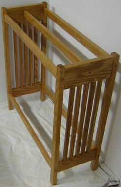 Custom Made New Solid Oak Wood Mission Style Quilt Rack Stand | Blanket Stand