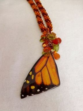 Custom Made Set - Bright Orange And Rootbeer Kumihimo Necklace With Butterfly Wing & Matching Earrings