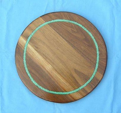 Custom Made Walnut Lazy Susan With Turquoise Inaly