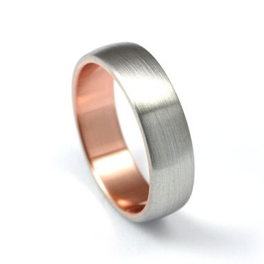 Custom Made White & Rose - Palladium And Rose Gold Band