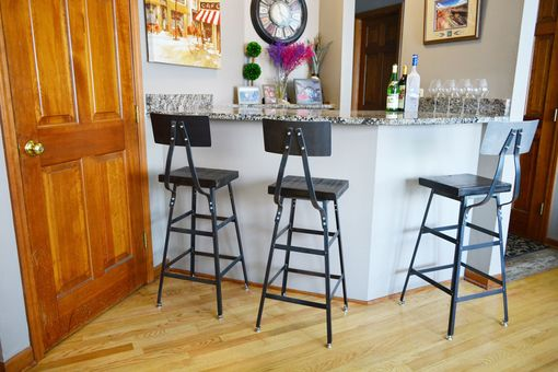 Custom Made Reclaimed Wood Stool | With Gunmetal Backrest