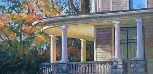Custom Made Home Portrait Of Beautiful Sunlit Porch In Pastel, 13 X 26 Inches