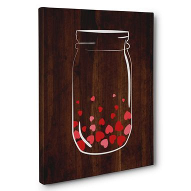 Custom Made Mason Jar Full Of Hearts Canvas Wall Art