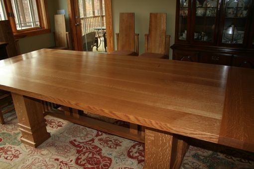 Custom Made Solid Oak Prairie Style Dining Table