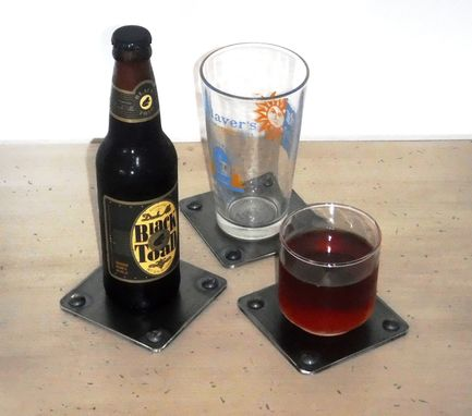 Custom Made Industrial Chic Coasters Steel Beverage Coaster Set By Rustic Furniture Hut