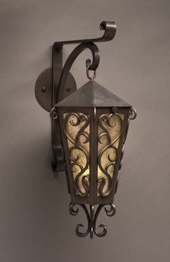 Custom Made Bronze Sconce With Mica Shade. Wrought Iron Style.