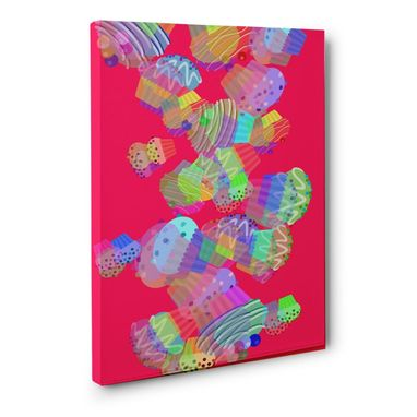Custom Made Neon Pink Muffins Canvas Wall Art