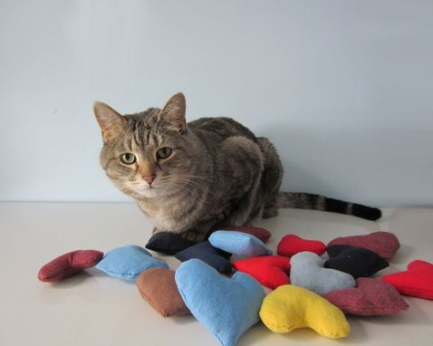 Custom Made Upcycled Organic Catnip Cat Toys Made From Recycled T-Shirts - Set Of Three