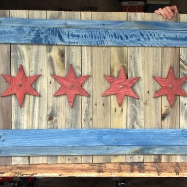 Custom Made Distressed City Of Chicago Wooden Flag