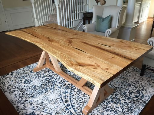 Custom Made Maple Slab Dining Table With Live Edge. Farm House Style Base.