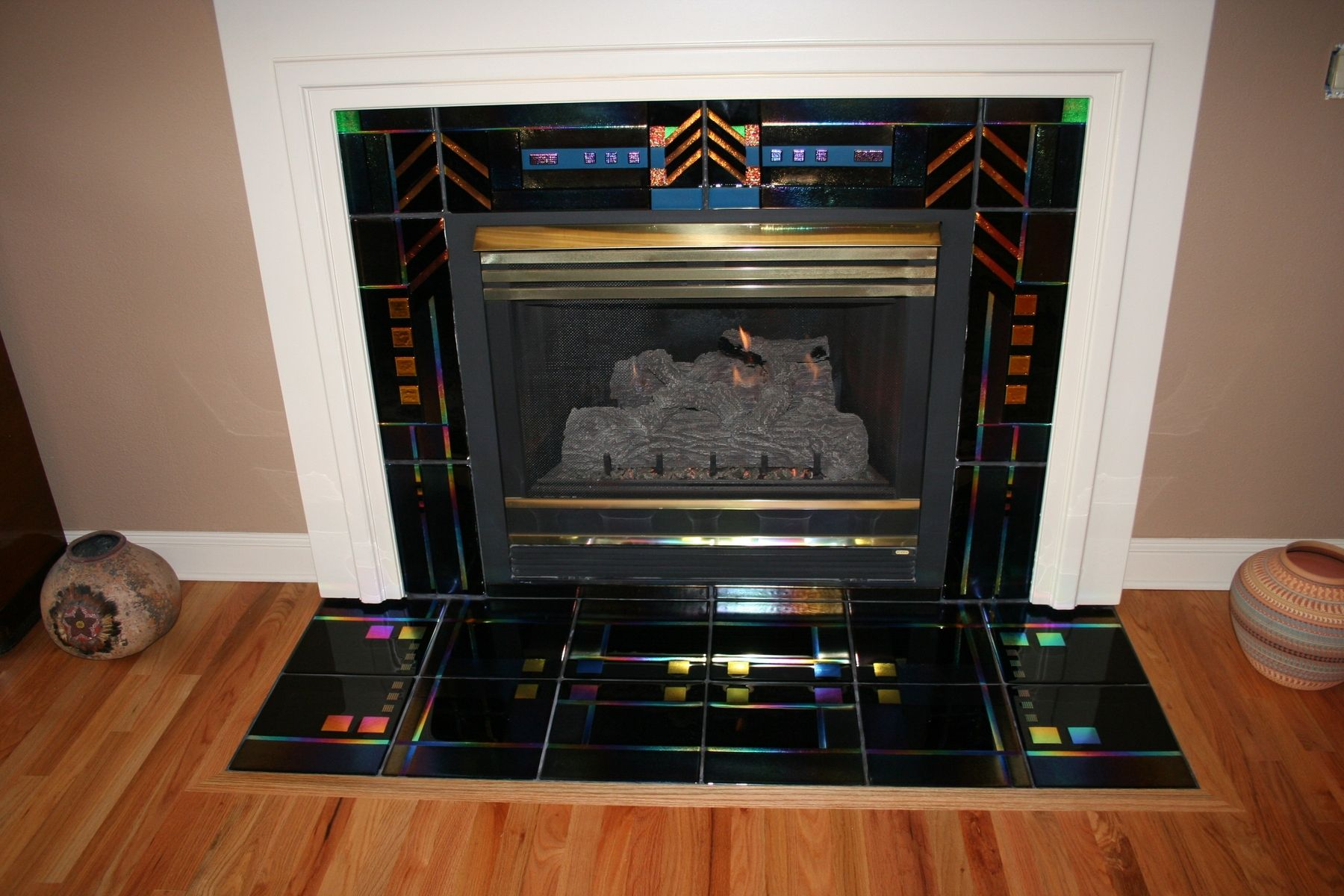 custom made fused glass fireplace surround by chuck franklin glass