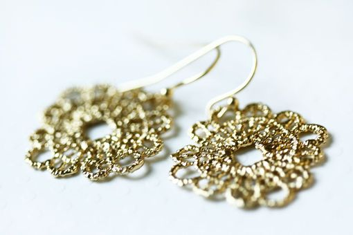 Custom Made Gold Lace Earrings - Bohemian - Summer Wediing