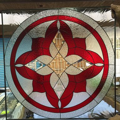 Custom Made Stunning Red Geometric Flower Stained Glass Window