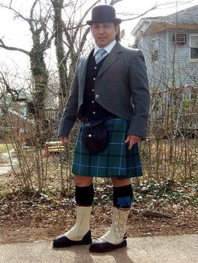 Custom Made Lyn B In His Cream Bull Hide Leather Mess Dress Boots