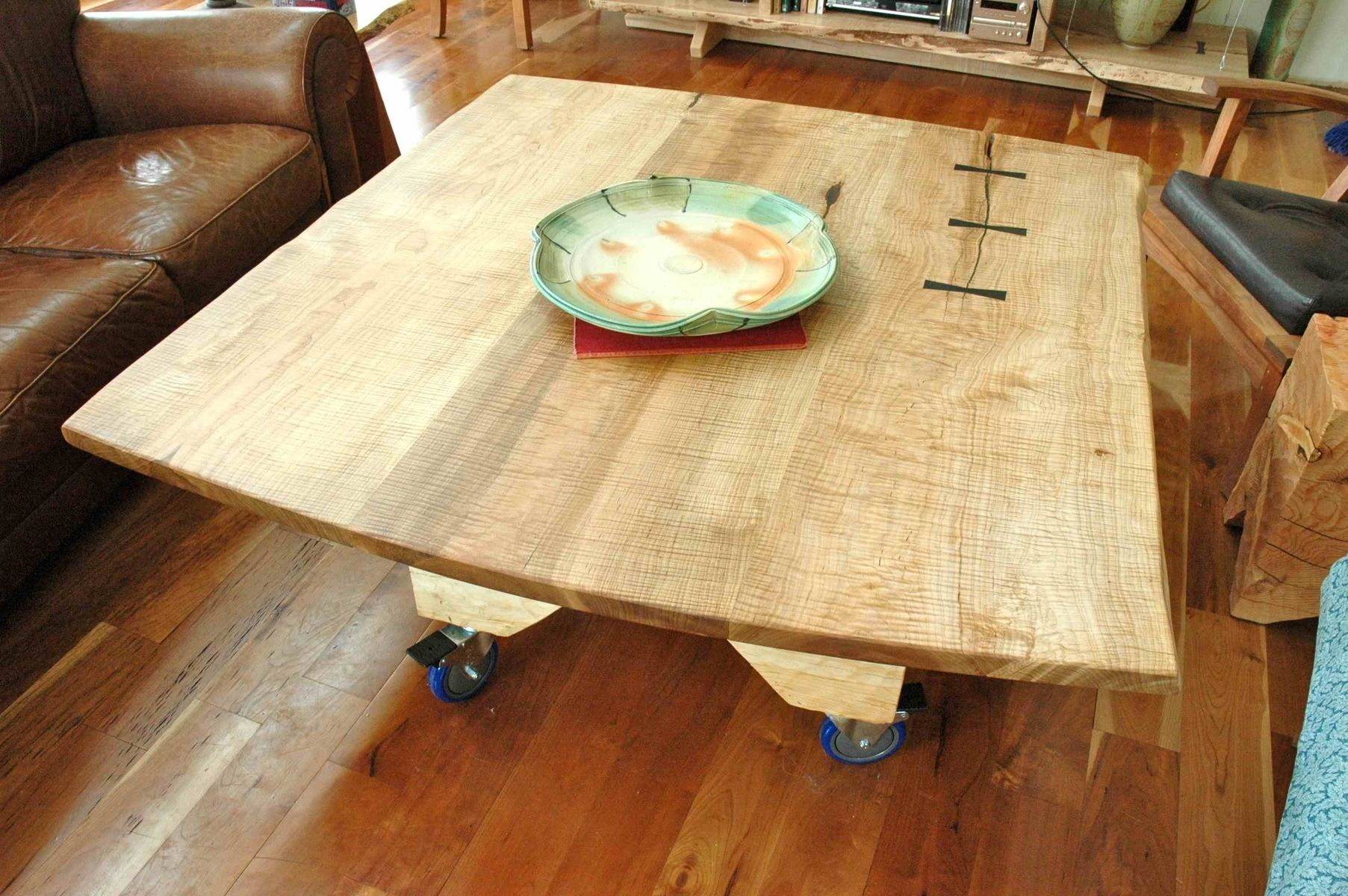 Custom Made Curly Maple Slab Coffee Table
