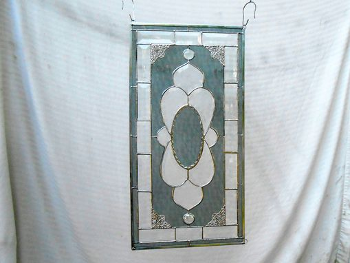 Custom Made Beveled Glass Window Valance, Vintage Look Traditional Stained Glass Transom Window