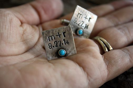Custom Made Rustic Turquoise Cuff Links