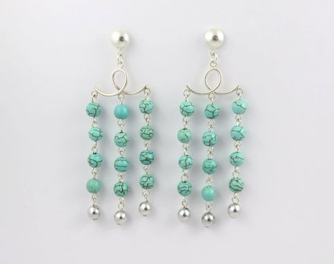 Custom Made Sterling Silver Magnesite Turquoise Chandelier Statement Earrings