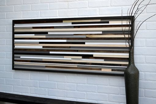 Custom Made Wood Sculpture Queen Headboard - Horizontal Lines