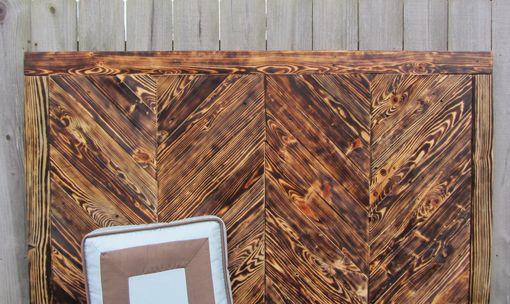 Custom Made Chevron Wood Wall Art Made From Reclaimed Pallet Wood - Queen Headboard