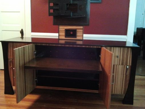 Custom Made Zebrawood And Cherry Entertainment Console