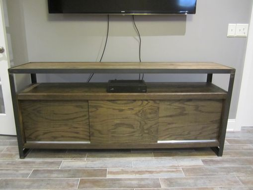 Custom Made Media Cabinet - Reclaimed Hardwoods In A Steel Frame