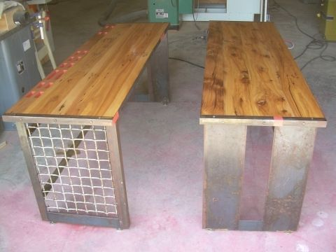 Custom Made Industrial Steel And Reclaimed Wood Tables