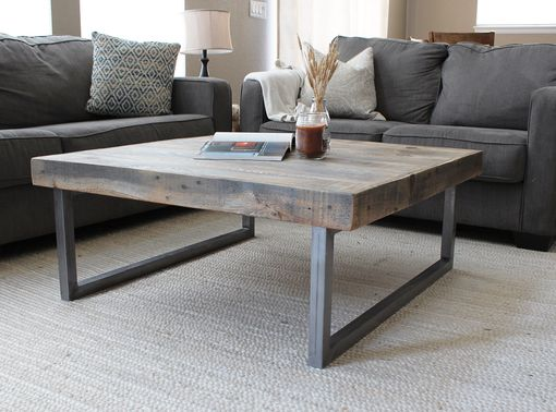 Custom Made Reclaimed Wood And Metal Coffee Table, Modern Farmhouse