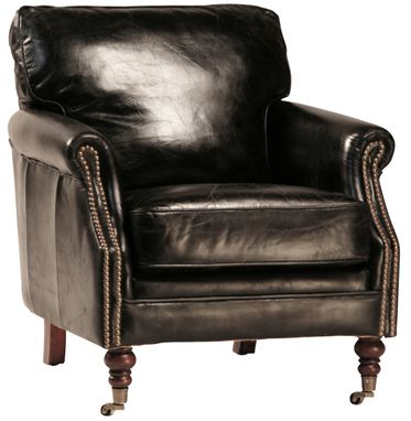 Custom Made Cigar Club Chair In Black Leather
