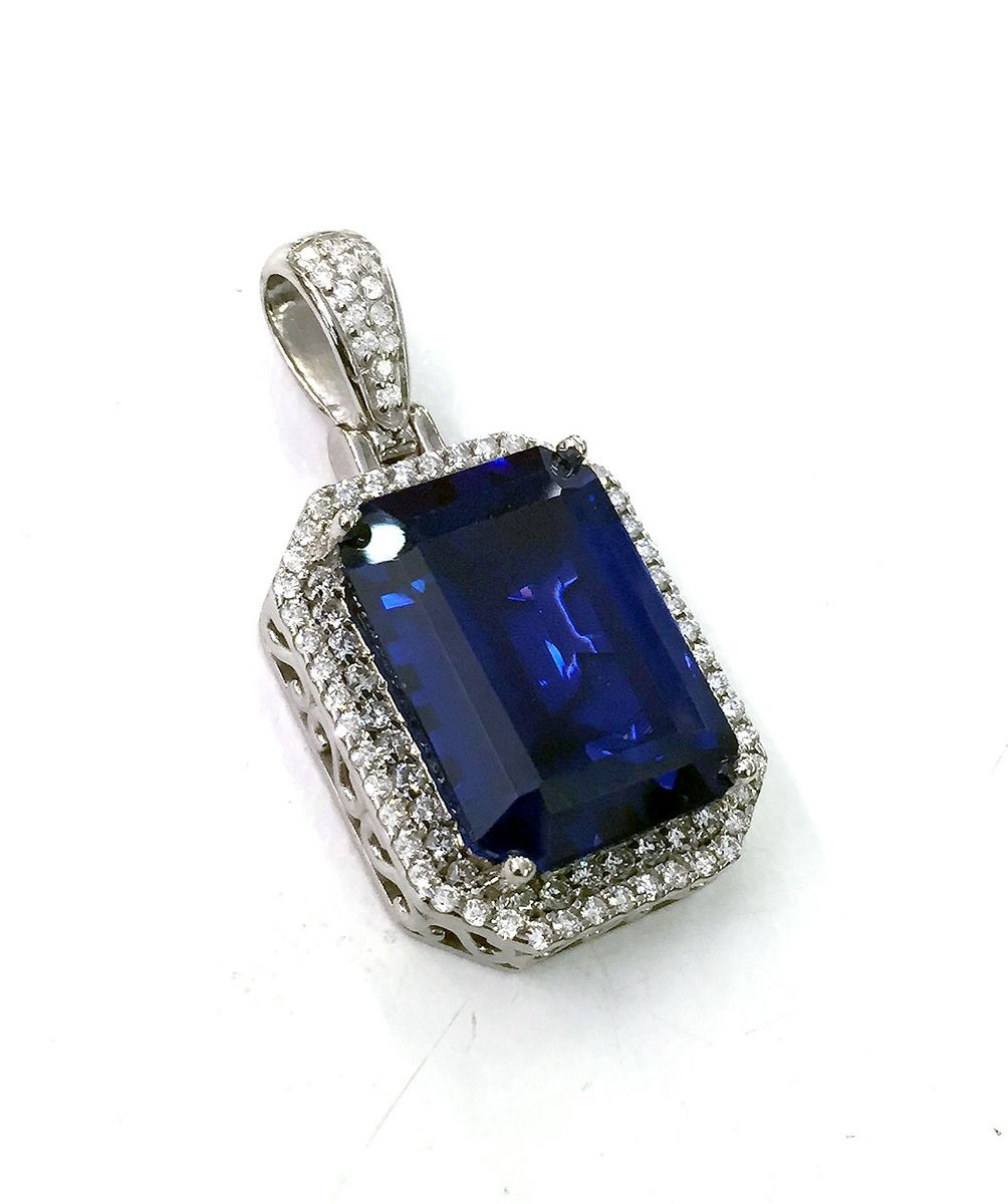 Buy a Custom 14k White Gold Emerald Cut Sapphire Color ...