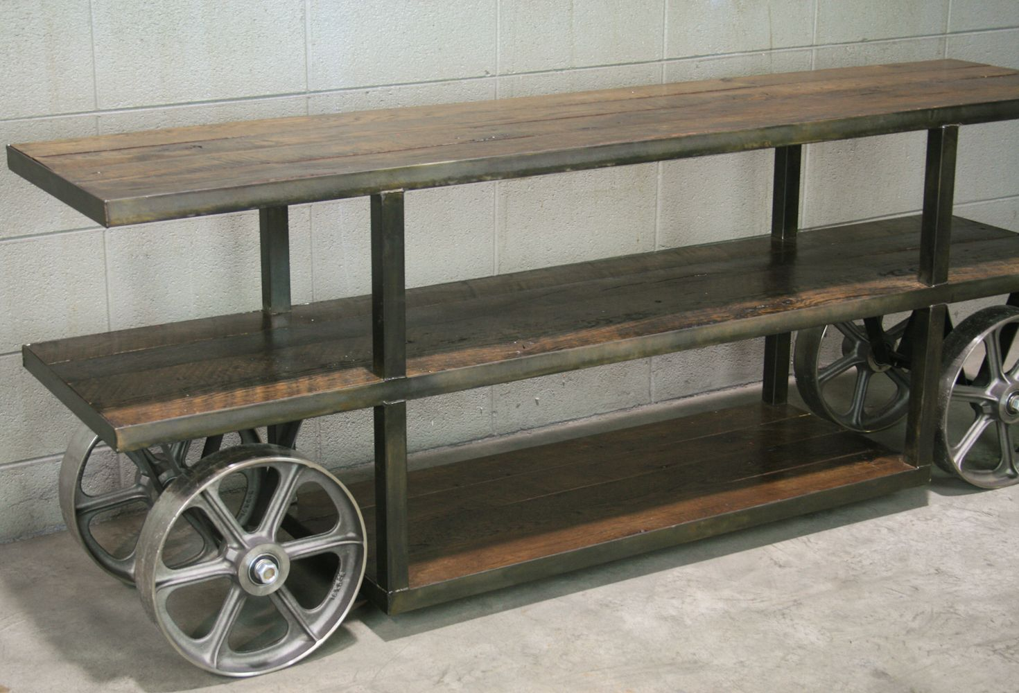 Buy a hand crafted industrial trolley cart media console for Industrial couch
