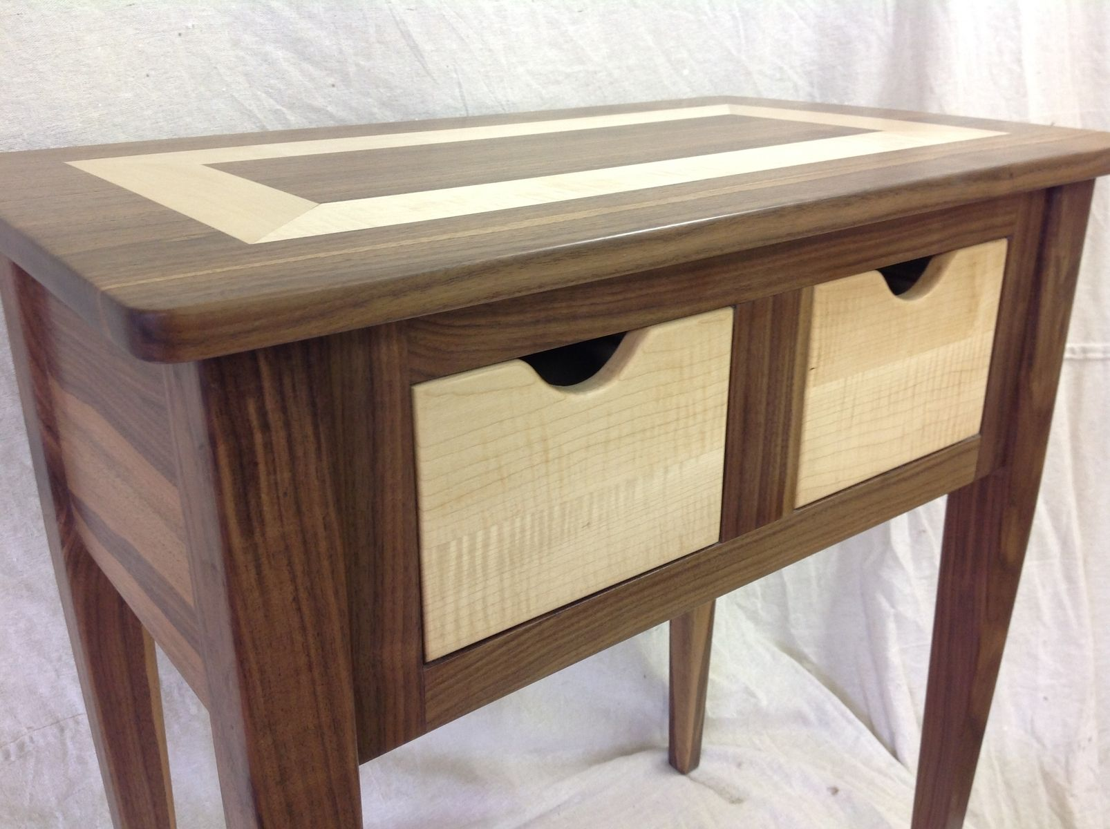 custom made black walnut and tiger maple end table by moose pond woodworking. Black Bedroom Furniture Sets. Home Design Ideas