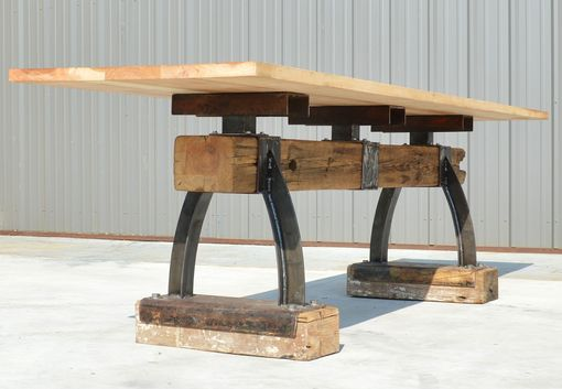 Custom Made Industrial Farmhouse Post & Beam Bar-Height Table