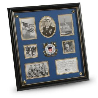 Custom Made U.S. Coast Guard Medallion 7 Picture Collage Frame With Stars