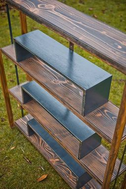 "Custom Made Recycled Scrap Steel And Wood Bookcase ""The Ibe Bookcase''"