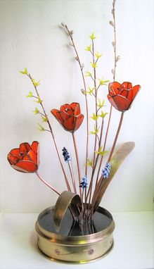 Custom Made Forever Spring- Ikebana Style Glass, Copper, And Brass Floral Arrangement