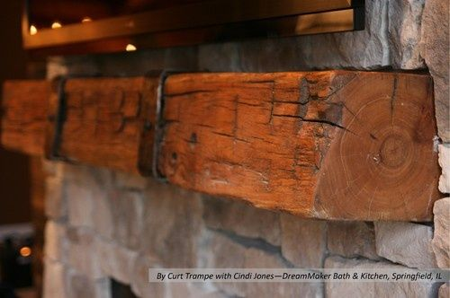 Buy Handmade Fireplace Mantel With Metal Straps, made to order ...