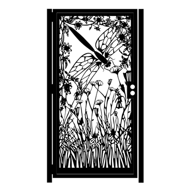 Custom Made Dragonfly Decorative Steel Gate - Flower Art Wall Panel - Laser Cut Steel Panel