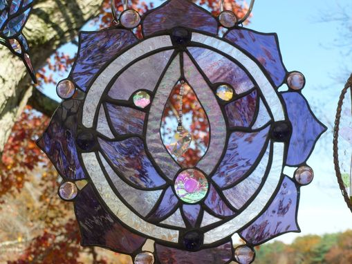 Custom Made Stained Glass Lotus Flower Panel In Purple