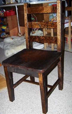 Custom Made Reclaimed Antique Oak Rustic Dining Chairs