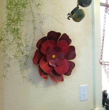 Custom Handmade Upcycled Metal Hibiscus Flower Wall Art In Dark Red And Pink By Frivolous